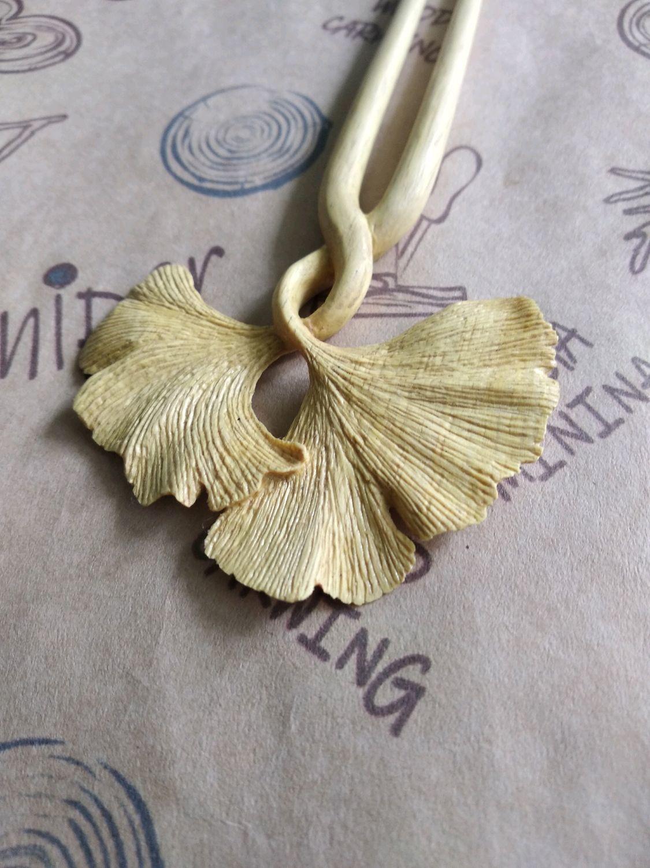 "Hairpin ""Ginkgo Leaf"" from Dalbergia wood, Hairpin, Sochi,  Фото №1"