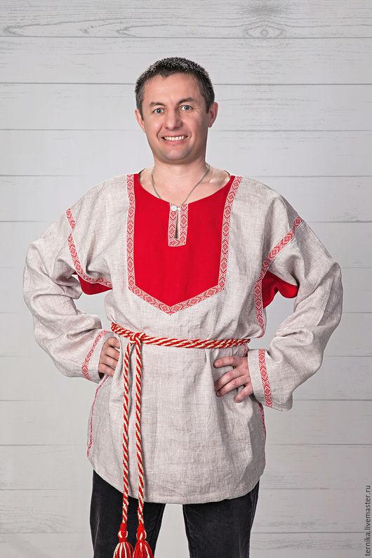 Для мужчин, ручной работы. Ярмарка Мастеров - ручная работа. Купить Рубаха мужская из льна. Handmade. Тёмно-синий, лён