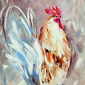 Картины и панно handmade. Livemaster - original item Oil painting on canvas. Cock of well-being! The year of the rooster. Provence. Handmade.