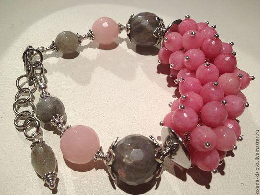 Браслеты ручной работы. Ярмарка Мастеров - ручная работа. Купить Браслет «Розовый фламинго», лабрадор, розовый кварц. Handmade. Розовый
