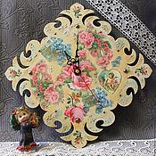 """Часы классические ручной работы. Ярмарка Мастеров - ручная работа Часы """"Цветы прованса"""" декупаж. Handmade."""