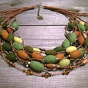 Украшения handmade. Livemaster - original item Songs Of The Druids Multi-Row Felted Felted Beads Necklace. Handmade.