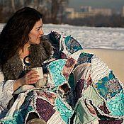 Для дома и интерьера ручной работы. Ярмарка Мастеров - ручная работа Лоскутное одеяло Фиолетовый Бирюзовый Белый. Handmade.