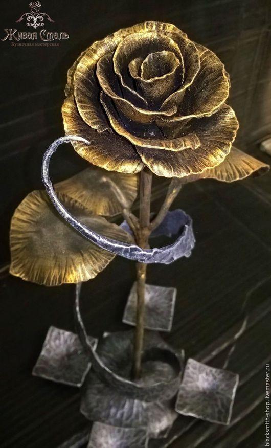 Цветы ручной работы. Ярмарка Мастеров - ручная работа. Купить Кованая роза, подсвечник на 4 свечи. Handmade. Золотой, подсвечник