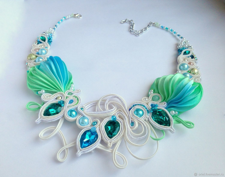 Necklace  embroidery Shibori silk, soutache, pearls, crystals, Necklace, Cherepovets,  Фото №1