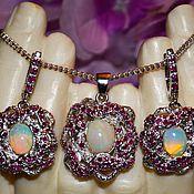 Украшения handmade. Livemaster - original item Earrings, pendant-Cobra-guardian of the soul-Opal fire Rubies Silver gilt. Handmade.