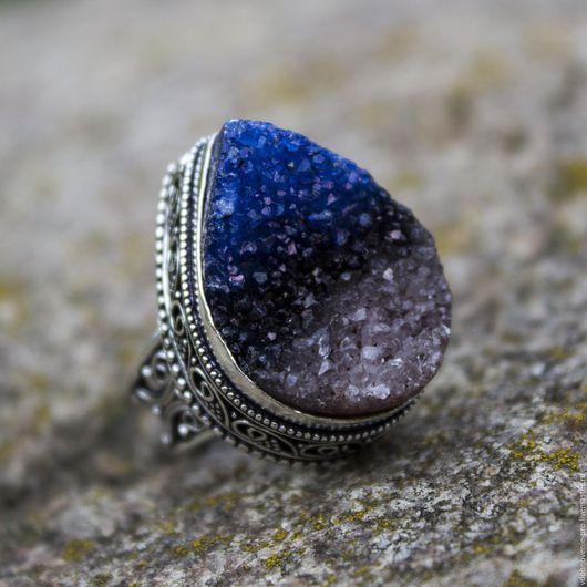 """Кольца ручной работы. Ярмарка Мастеров - ручная работа. Купить Царское кольцо (перстень) с друзой кварца """"Звездная ночь"""". Handmade."""