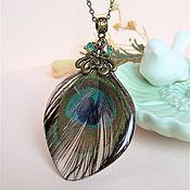 Украшения handmade. Livemaster - original item Pendant with a Real Peacock Feather Boho Jewelry Resin. Handmade.