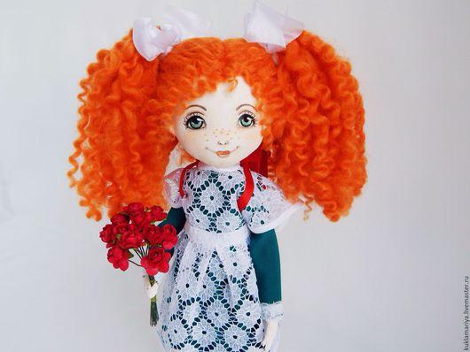 Коллекционные куклы ручной работы. Ярмарка Мастеров - ручная работа. Купить Интерьерная текстильная кукла. Школьница.. Handmade. Рыжий