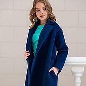 Одежда ручной работы. Ярмарка Мастеров - ручная работа Пальто из альпаки насыщенного синего цвета. Handmade.