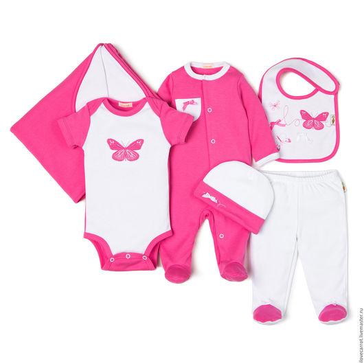 """Для новорожденных, ручной работы. Ярмарка Мастеров - ручная работа. Купить Комплект на выписку """"Бабочки"""". Handmade. Розовый, комплект для новорожденой"""