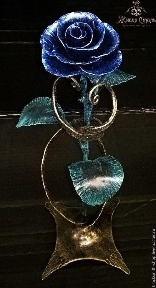 Цветы ручной работы. Ярмарка Мастеров - ручная работа. Купить Кованая роза на подставке 1. Handmade. Синий, кованые розы