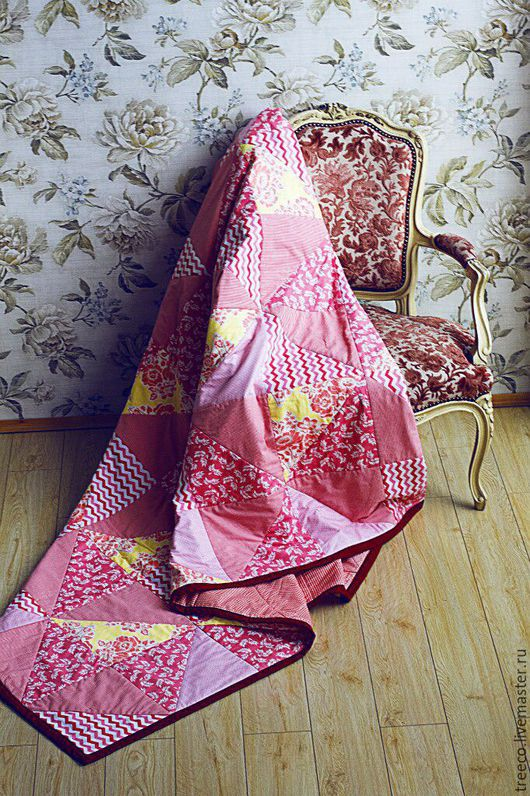 """Текстиль, ковры ручной работы. Ярмарка Мастеров - ручная работа. Купить Двуспальное одеяло """"Цветочнай сад"""". Handmade. Бледно-розовый"""