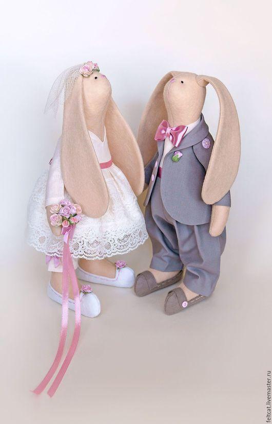 Подарки на свадьбу ручной работы. Ярмарка Мастеров - ручная работа. Купить Зайцы свадебные розовый/латте подарок на свадьбу. Handmade.