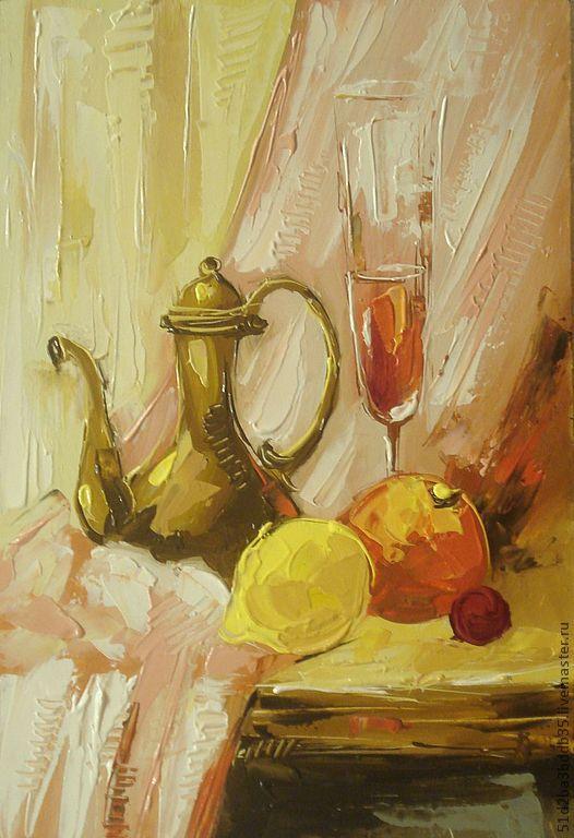 Натюрморт ручной работы. Ярмарка Мастеров - ручная работа. Купить натюрморт  с чайником. Handmade. Картина, картина для интерьера, картина в подарок