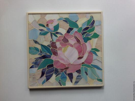 """Картины цветов ручной работы. Ярмарка Мастеров - ручная работа. Купить мозаика ,, Пион-бутон"""". Handmade. Комбинированный, мозаика из стекла"""