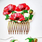 Украшения handmade. Livemaster - original item Comb with flowers Poppy field decoration made of polymer clay. Handmade.