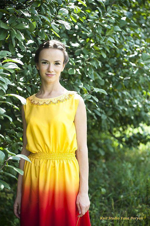 Платья ручной работы. Ярмарка Мастеров - ручная работа. Купить Платье Август Раш. Handmade. Желтый, платье на каждый день