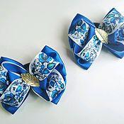 Резинка для волос ручной работы. Ярмарка Мастеров - ручная работа Бантики для девочки, гжель, синие резиночки,для школы, подарок девочке. Handmade.