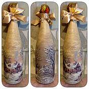 Подарки к праздникам ручной работы. Ярмарка Мастеров - ручная работа Декор бутылок к Новому Году. Handmade.