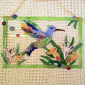 Для дома и интерьера ручной работы. Ярмарка Мастеров - ручная работа Панно Цветы и птицы. Handmade.