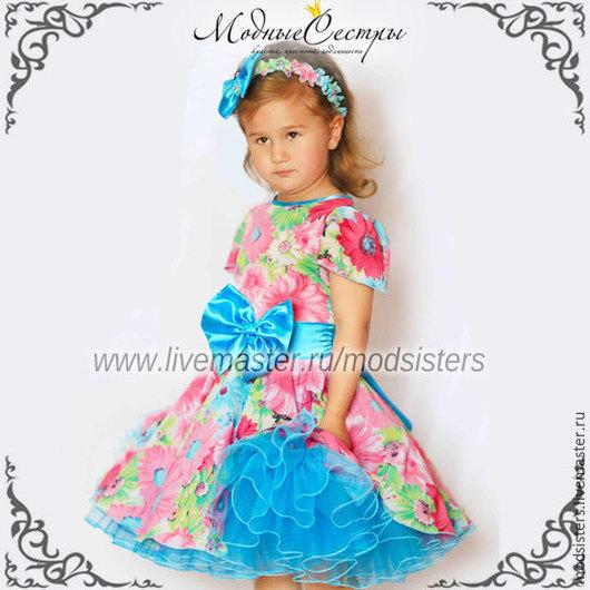 """Одежда для девочек, ручной работы. Ярмарка Мастеров - ручная работа. Купить Платье """"Цветы"""" Арт.225. Handmade. Бирюзовый, американка"""