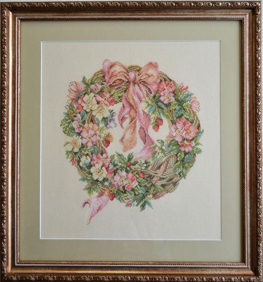 """Картины цветов ручной работы. Ярмарка Мастеров - ручная работа. Купить Вышитая картина """"Весенний венок"""". Handmade. Вышивка, канва"""