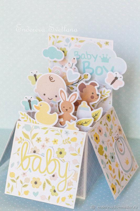 Pop-up открытка на рождение мальчика, Открытки, Москва, Фото №1