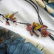 """Украшения ручной работы. Ярмарка Мастеров - ручная работа Колье с омедненными березовыми листьями и сережками - """"Ветка березы"""". Handmade."""