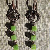 Серьги классические ручной работы. Ярмарка Мастеров - ручная работа Серьги из зеленого нефрита. Handmade.