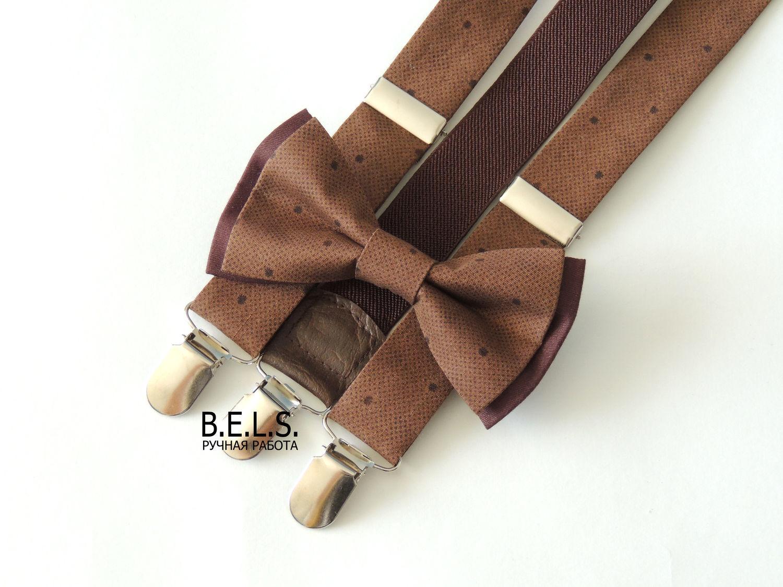 Комплект: бабочка + подтяжки коричневый горох, хлопок, Ремни, Оренбург,  Фото №1