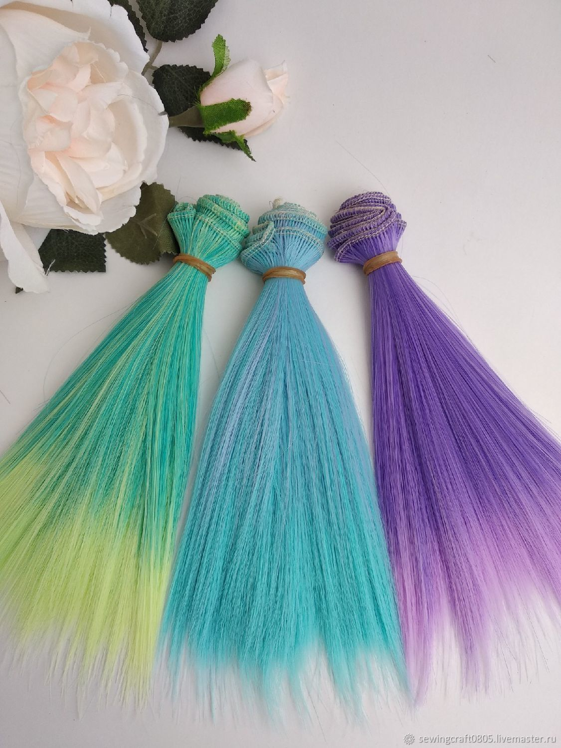 Straight hair pieces colored 15 cm, Doll hair, St. Petersburg,  Фото №1