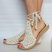 Обувь ручной работы. Ярмарка Мастеров - ручная работа Сандалии  вязаные Beauty, белый, лен. Handmade.