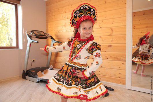 Детские танцевальные костюмы ручной работы. Ярмарка Мастеров - ручная работа. Купить платье Хохлома №5. Handmade. Ярко-красный