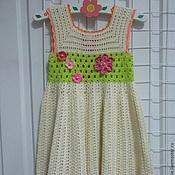 Работы для детей, ручной работы. Ярмарка Мастеров - ручная работа платье вязаное крючком для девочки Нежная ваниль. Handmade.