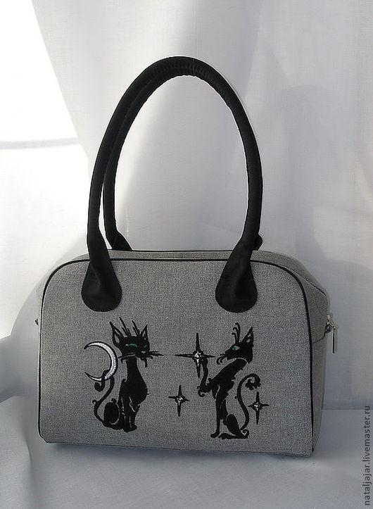 """Женские сумки ручной работы. Ярмарка Мастеров - ручная работа. Купить сумка """"Звёздные кошки"""". Handmade. Темно-серый"""