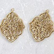 Материалы для творчества handmade. Livemaster - original item 1801_1_ Pendant 27 x 34 mm, Pendant filigree gold Plated pendant.. Handmade.