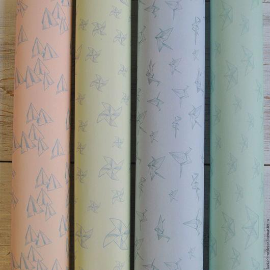 Бумага упаковочная Оригами 75х52 см, 4 цвета