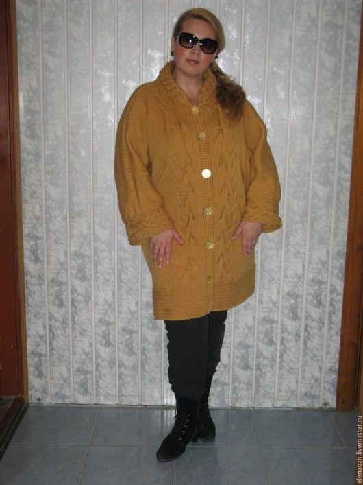 Верхняя одежда ручной работы. Ярмарка Мастеров - ручная работа. Купить Вязаное пальто ручной работы. Handmade. Золотой