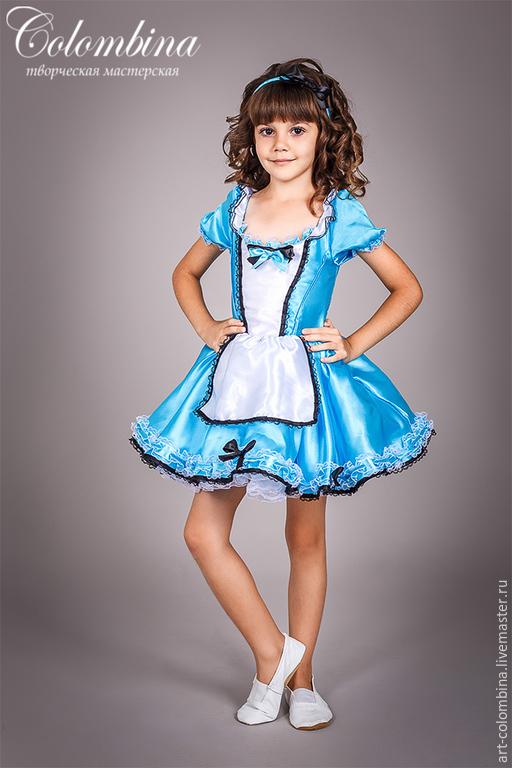 Купить костюм Алисы в стране чудес - бирюзовый, алиса, алиса в стране чудес, атлас