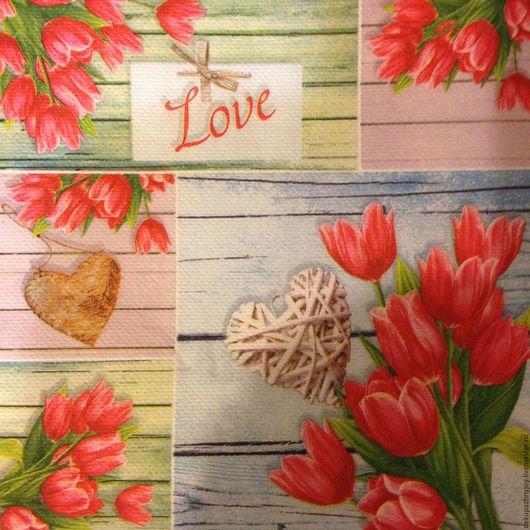 Салфетка для декупажа - Тюльпаны, рустик, сердце  Декупажная радость