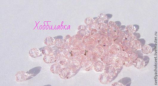 Великолепные, граненые бусины-рондели нежно-розового цвета. Прозрачные, с зеркальным эффектом, мелкой огранки. Отличный блеск! Размер 3x 4 мм