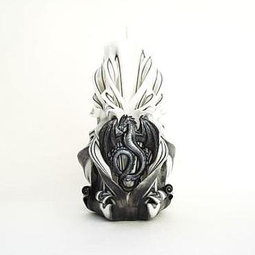 Подарки к праздникам ручной работы. Ярмарка Мастеров - ручная работа Резная свеча - черный серый белый - Он Дракон - интерьерная свеча. Handmade.