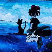 """Канцелярские товары ручной работы. Ярмарка Мастеров - ручная работа Обложка на паспорт из замши """"Полет на метле"""". Handmade."""