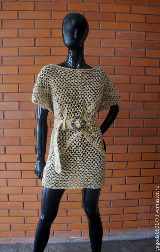Vest with belt crocheted from jute 'Kolchuga', Vests, Kaluga,  Фото №1