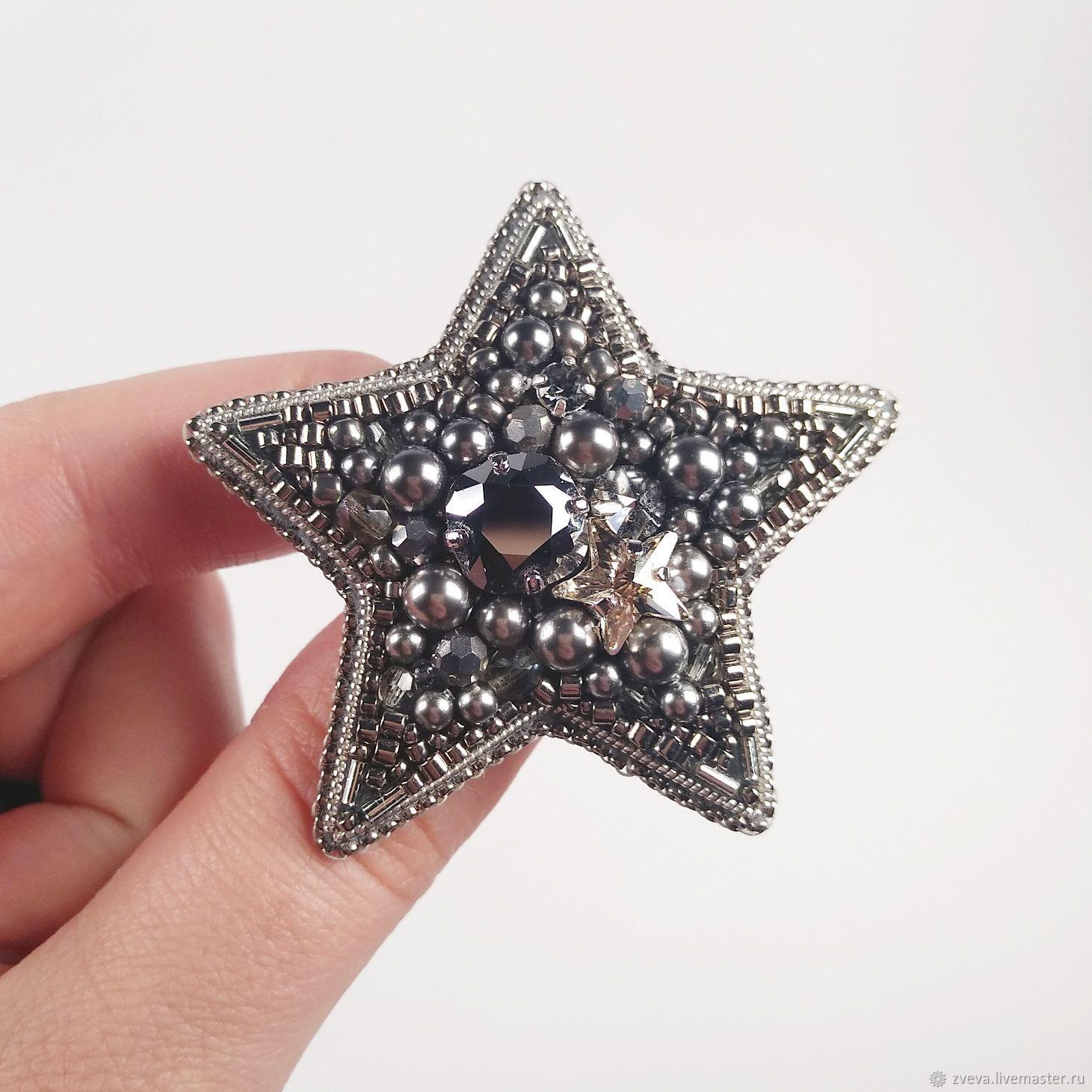 Брошь Звезда серебряная вышитая бисером и жемчугом, Брошь-булавка, Смоленск,  Фото №1
