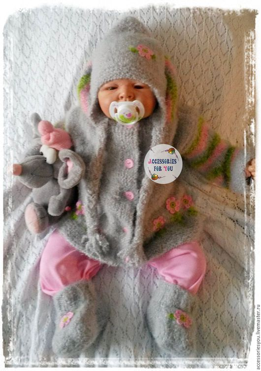 """Одежда ручной работы. Ярмарка Мастеров - ручная работа. Купить Комплект """"Обаяшечка"""". Handmade. Серый, новорожденной, комплект для девочки"""