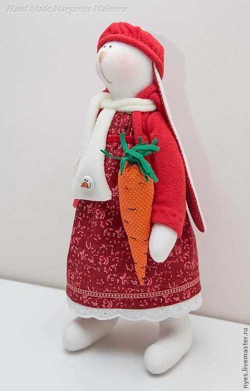 Куклы Тильды ручной работы. Ярмарка Мастеров - ручная работа. Купить Зайцы новогодние. Handmade. Ярко-красный, флис