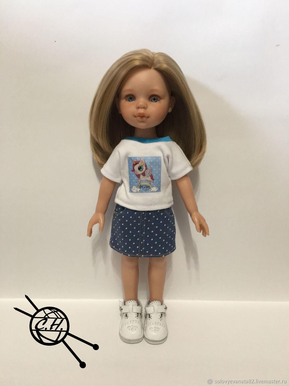Джинсовая юбочка и фтболка, Одежда для кукол, Зубцов,  Фото №1