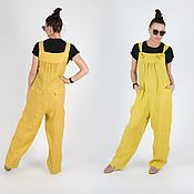 handmade. Livemaster - original item Linen jumpsuit with wide legs - JP0896LE. Handmade.